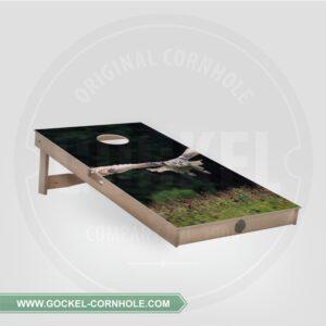 Cornhole board met vliegende uil print.