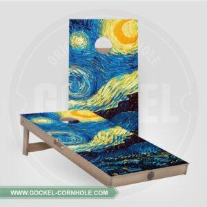 Set - Cornhole boarden met sterrenhemel van Vincent van Gogh!