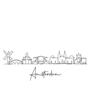 Cornhole sticker - skyline Amsterdam