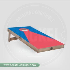 Cornhole board - blauw rode piramide